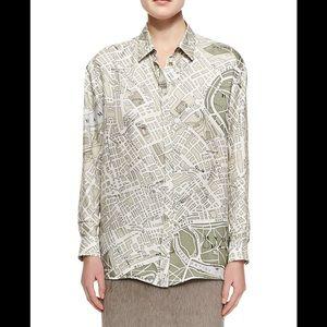 Burberry Prorsum Silk Map Print button down blouse